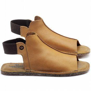 Rasteira Flat em couro Amarelo - Código - 141116
