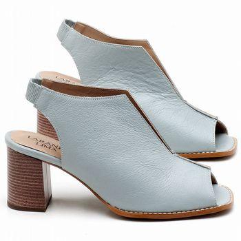 Sandália Salto Médio de 6cm em couro Azul Claro - Código - 3632