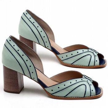 Sandália Salto de 6cm em couro Azul Claro - Código - 3633
