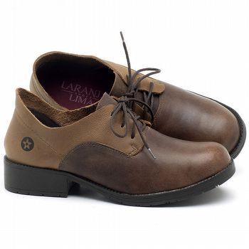 Sapato Fechado Estilo Boho-Chic em couro Marrom Conhaque com Havana - Código - 137159