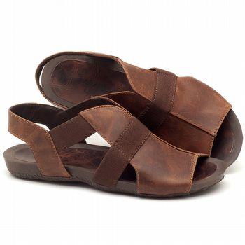 Rasteira Flat em couro marrom - Código - 56139