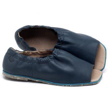 Rasteira Flat em couro azul - CÓDIGO - 145038
