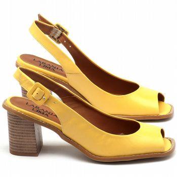 Sandália Salto de 6cm em couro amarelo - Código - 3559