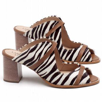 Sandália Salto Médio de 6cm em couro Animal print Zebra - Código - 3623