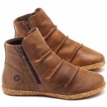 Flat Boot em couro marrom tan - Código - 137146