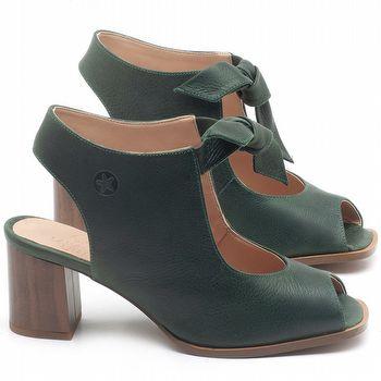 Sandália Salto Médio de 6cm em couro Verde Militar - Código - 3688