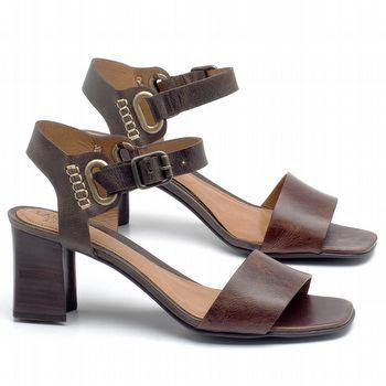 Sandália Salto Médio de 6cm em couro Marrom Tan - Código - 56170