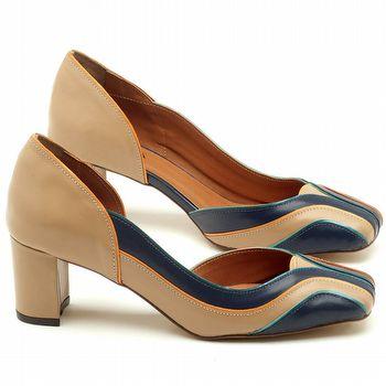 Scarpin Salto Médio de 6cm em couro bege com azul marinho - Código - 3540
