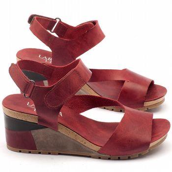 Anabela Salto 5cm em couro vermelho - Código - 137115