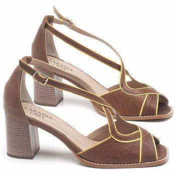 Sandália Salto Médio de 6cm em couro Marrom Conhaque - Código - 3631