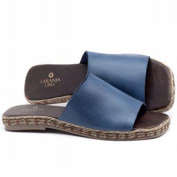 Rasteira Flat em couro Azul Bic - Código - 9449