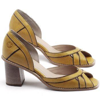 Sandália Salto Médio de 6cm em couro Amarelo - Código - 3489