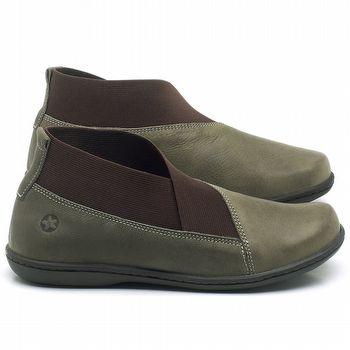 Flat Boot em couro Musgo - Código - 56086