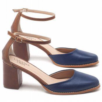Sandália Salto Médio de 6cm em couro conhaque - código - 3616
