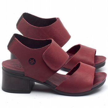 Sandália Boho em couro Vermelho - Código - 137218