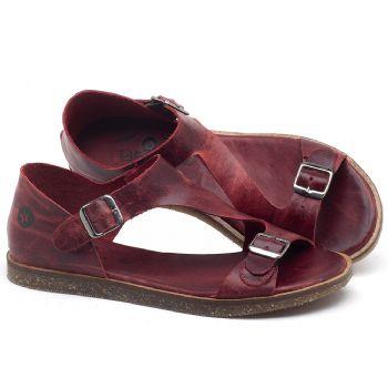 Rasteira Flat em couro Vermelho - Código - 141020