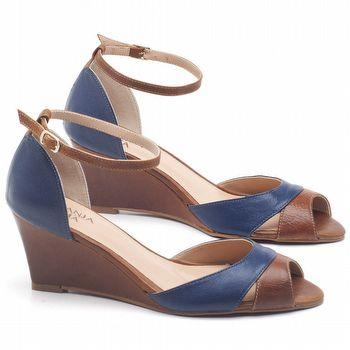 Sandália Salto Médio de 6cm em couro Azul Cobalto com Conhaque - Código - 3642