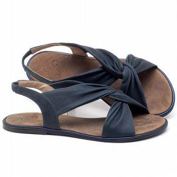 Rasteira Flat em couro Azul Marinho - Código - 3654