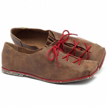 Sapato Fechado Estilo Boho-Chic em couro marrom - Código - 145010