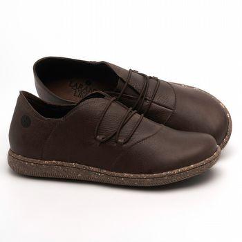 Flat Shoes em couro Marrom Café - Código - 137268