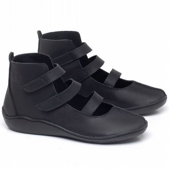 Flat Boot em couro Preto - Código - 139036