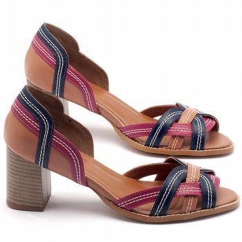 Sandália Salto médio de 6cm em couro - Código - 3545