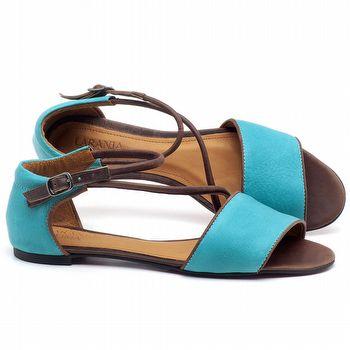 Rasteira Flat em couro Azul Piscina - Código - 56114