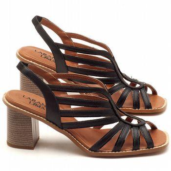 Sandália Salto médio de 6cm em couro Preto - Código - 3538