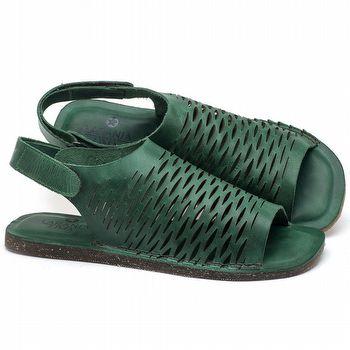 Rasteira Flat em couro Verde - Código - 141099