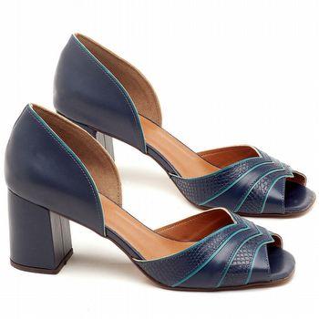 Sandália Salto de 6cm em couro Azul Indigo - Código - 3590