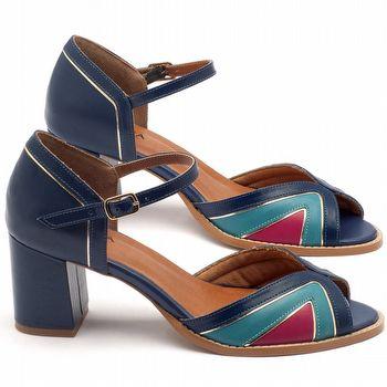 Sandália Salto medio de 6cm em couro - Código - 3503