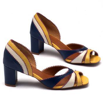 Sandália Salto médio de 6,5cm em couro colorido - 3445
