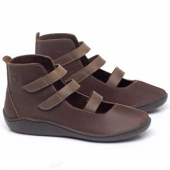 Flat Boot em couro Marrom Telha - Código - 139036