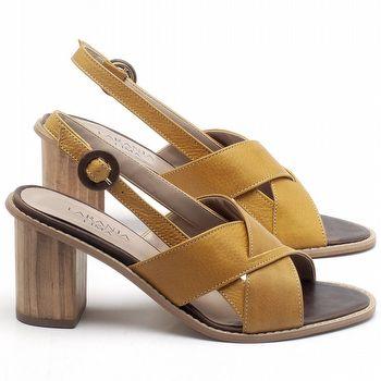 Sandália Salto Médio de 6cm em couro Amarelo - Código - 9455