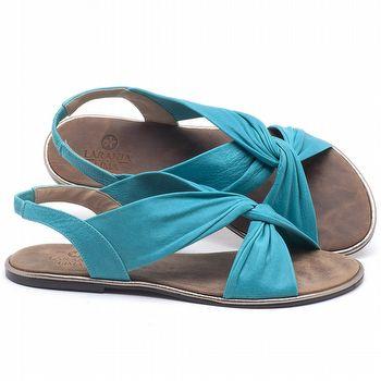 Rasteira Flat em couro Azul Piscina - Código - 3654