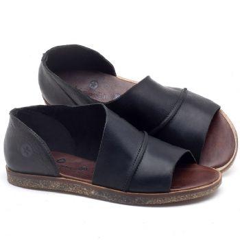 Rasteira Flat em couro preto - CÓDIGO - 141055