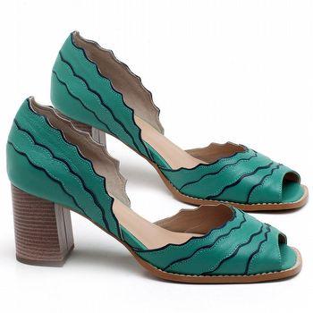 Sandália Salto Médio de 6cm em couro Verde Hortelã - Código - 3630