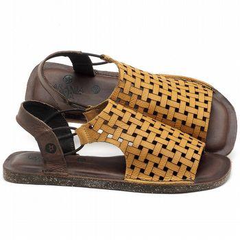 Rasteira Flat em couro Amarelo - Código - 141107