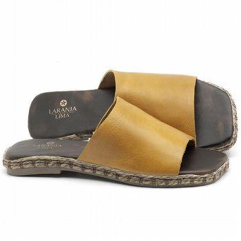 Rasteira Flat em couro Amarelo - Código - 9449