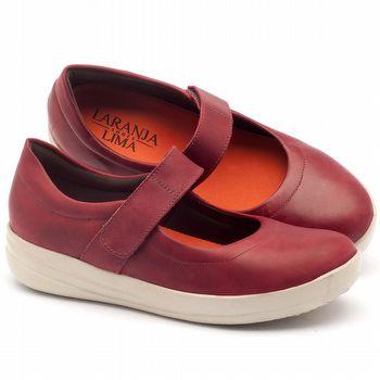Tênis Cano Baixo em couro vermelho - Código - 137111