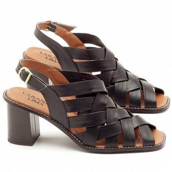 Sandália Salto Médio de 6cm em couro Preto - Código - 3544