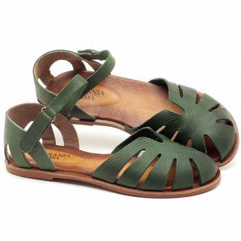 Rasteira Flat em couro verde militar - Código - 136072