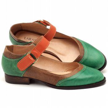 Oxford Flat em couro Verde, Bege e Laranja - Código - 9400