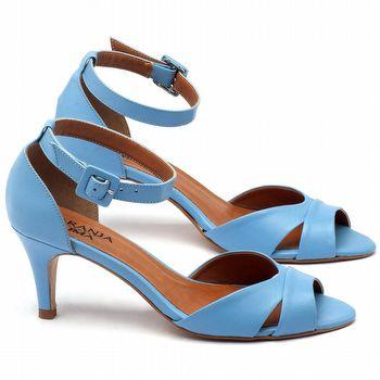 Sandália Salto médio de 7cm em couro azul celeste - Código - 3558