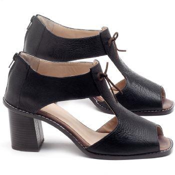 Sandália Salto de 6cm em couro Preto - Código - 3581