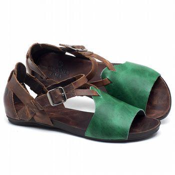 Rasteira Flat em couro Verde - Código - 137187