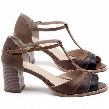 Sandália Salto Médio de 6cm em couro Marrom com Preto - Código - 3622