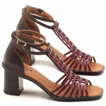 Sandália Salto de 6cm em couro Vinho Amora - Código - 3551