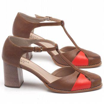 Sandália Salto Médio de 6cm em couro Marrom Conhaque com Laranja - Código - 3617