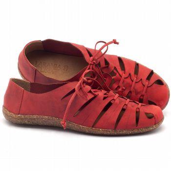 Tênis Cano Baixo em couro vermelho - Código - 145009